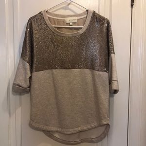 Comfy cute light tan sequin sweatshirt size small